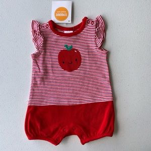 NWT GYMBOREE NEWBORN BABY GIRLS APPLE ROMPER